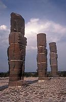 Toltec warrior sculptures or Atlantean Men at the Toltec ruins of Tula, Hidalgo, Mexico