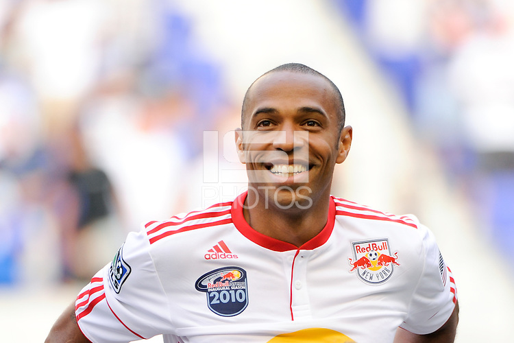 Thierry Henry (14) of the New York Red Bulls. The Los Angeles Galaxy defeated the New York Red Bulls 1-0 during a Major League Soccer (MLS) match at Red Bull Arena in Harrison, NJ, on August 14, 2010.