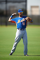 GCL Mets third baseman Rigoberto Terrazas (11) during warmups before the first game of a doubleheader against the GCL Astros on August 5, 2016 at Osceola County Stadium Complex in Kissimmee, Florida.  GCL Astros defeated the GCL Mets 4-1 in the continuation of a game started on July 21st and postponed due to inclement weather.  (Mike Janes/Four Seam Images)