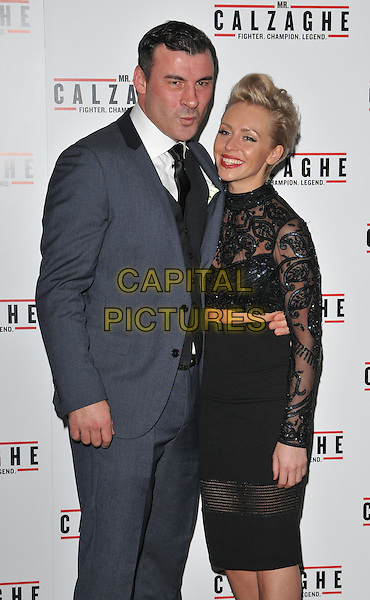 Joe Calzaghe &amp; Lucy Griffiths attend the &quot;Mr Calzaghe&quot; gala film screening, The May Fair Hotel, Stratton Street, London, England, UK, on Wednesday 18 November 2015. <br /> CAP/CAN<br /> &copy;CAN/Capital Pictures
