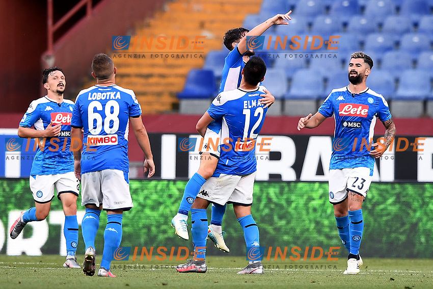 Dries Mertens of SSC Napoli celebrates after scoring the goal of 0-1 during the Serie A football match between Genoa CFC and SSC Napoli stadio Marassi in Genova ( Italy ), July 08th, 2020. Play resumes behind closed doors following the outbreak of the coronavirus disease. <br /> Photo Matteo Gribaudi / Image / Insidefoto