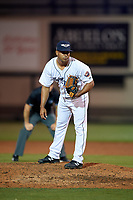Lakeland Flying Tigers relief pitcher Wladimir Pinto (30) during a Florida State League game against the Tampa Tarpons on April 5, 2019 at Publix Field at Joker Marchant Stadium in Lakeland, Florida.  Lakeland defeated Tampa 5-3.  (Mike Janes/Four Seam Images)