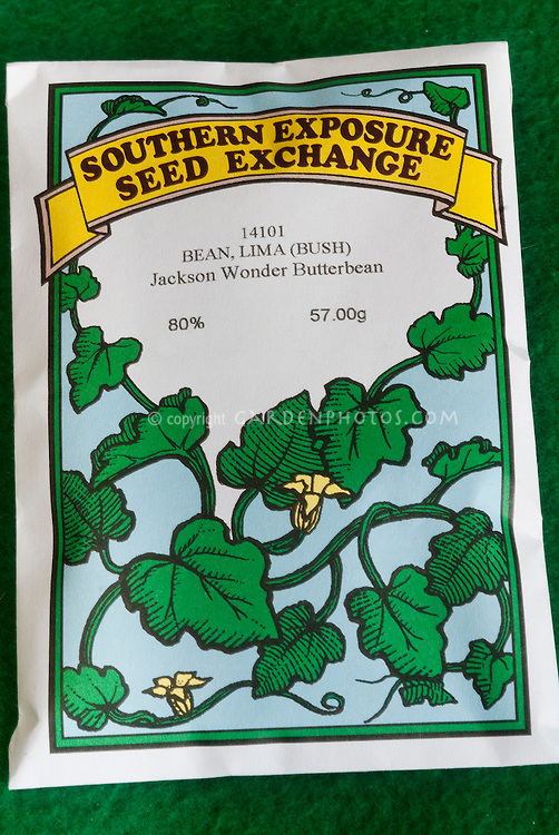 Bean, Jackson Wonder butterbean Lima bush bean heirloom vegetable seed packet from Southern Exposure Seed Exchange, Seed Saving