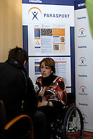 Queens Club, GREAT BRITAIN,  Dame Tanni GREY-THOMPSON,  being interviewed after the  press Conference to announce the joint initiative between British Paralympic Association and Deloitte  of 'www.Parasport.org.uk' online information service, on Thur's.  03.05.2007. London. [Credit: Peter Spurrier/Intersport Images]