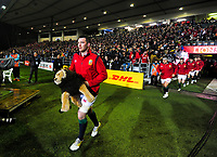 Peter O'Mahoney leads the Lions out for the 2017 DHL Lions Series rugby union match between the NZ Maori and British & Irish Lions at Rotorua International Stadium in Rotorua, New Zealand on Saturday, 17 June 2017. Photo: Dave Lintott / lintottphoto.co.nz