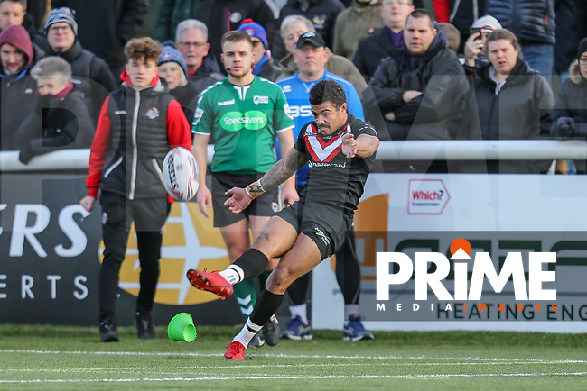 Kieran DIXON of London Broncos converts during the Betfred Super League match between London Broncos and Wakefield Trinity at Castle Bar , West Ealing , England on 3 February 2019. Photo by David Horn.
