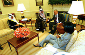 United States President George W. Bush meets with Prince Saud al-Faisal, Foreign Minister of Saudi Arabia in the Oval Office of the White House in Washington, D.C. on July 23, 2006.  From left to right: Prince Turki al-Faisal, Ambassador of Saudi Arabia to the United States, Prince Saud al-Faisal, Saudi Foreign Minister; President Bush; and United States Secretary of State Condoleezza Rice..Credit: Ron Sachs / CNP