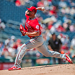 16 August 2017: Los Angeles Angels starting pitcher Ricky Nolasco on the mound against the Washington Nationals at Nationals Park in Washington, DC. The Angels defeated the Nationals 3-2 to split their 2-game series. Mandatory Credit: Ed Wolfstein Photo *** RAW (NEF) Image File Available ***