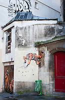 Graffiti on the walls near the Centre Pompidou in Paris.