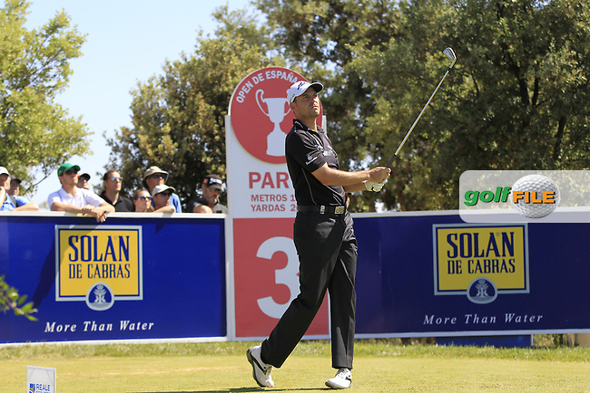 David Howell (ENG) on the 3rd tee during Round 2 of the Open de Espana  in Club de Golf el Prat, Barcelona on Friday 15th May 2015.<br /> Picture:  Thos Caffrey / www.golffile.ie