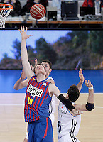 Real Madrid's Nikola Mirotic (b) and Rudy Fernandez (r) and FC Barcelona Regal's CJ Wallace (f) during Spanish Basketball King's Cup match.February 07,2013. (ALTERPHOTOS/Acero) /Nortephoto