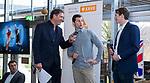 VOGELENZANG -  presentator Marcel Maijer met Sander Baart en Seve van Ass (150 interlands) .   Spelerslunch KNHB 2019.   COPYRIGHT KOEN SUYK