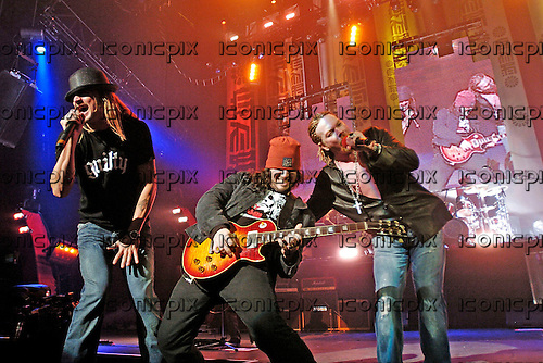 Guns n' Roses - Kid Rock, guitarist Bumblefoot and Axl Rose - performing live at the Hammerstein Ballroom in New York USA - 17 May 2006.  Photo credit: George Chin/IconicPix