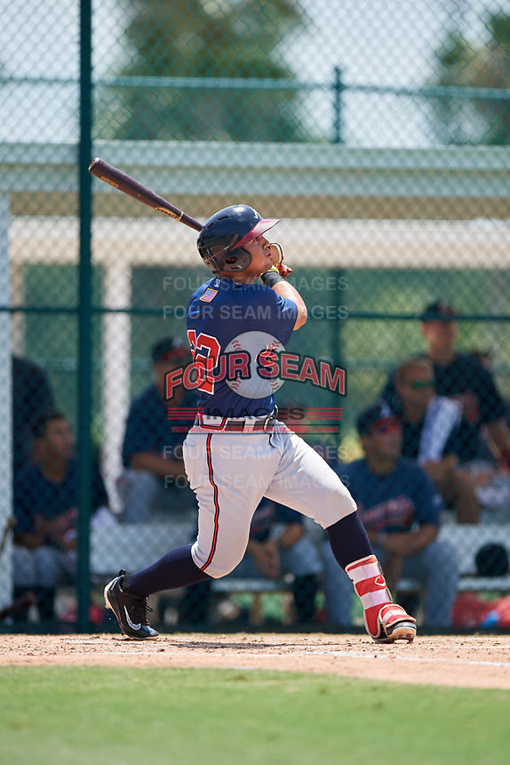 GCL Braves left fielder Jefrey Ramos (22) hits a home run during a game against the GCL Pirates on July 26, 2017 at Pirate City in Bradenton, Florida.  GCL Braves defeated the GCL Pirates 12-5.  (Mike Janes/Four Seam Images)