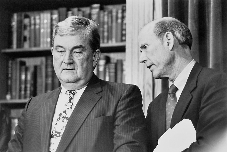 """Rep. Charles Grandison """"Charlie"""" Rose III, D-N.C., and Sen. Charles Patrick """"Pat"""" Roberts, R-Kans., at a press conference on the post office report. July 23, 1992 (Photo by Laura Patterson/CQ Roll Call)"""
