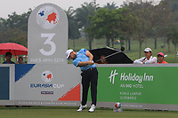 Tyrrell Hatton (Europe) on the 3rd tee during the Saturday Foursomes of the Eurasia Cup at Glenmarie Golf and Country Club on the 13th January 2018.<br /> Picture:  Thos Caffrey / www.golffile.ie