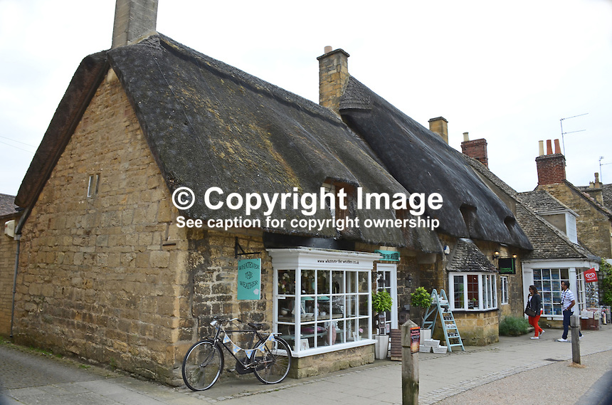 Shops, Main Street, Broadway, UK, Cotswolds country, July 2014, 201407113490.<br />