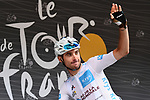White Jersey Pierre Latour (FRA) AG2R La Mondiale at sign on before the start of Stage 13 of the 2018 Tour de France running 169.5km from Bourg d'Oisans to Valence, France. 20th July 2018. <br /> Picture: ASO/Alex Broadway | Cyclefile<br /> All photos usage must carry mandatory copyright credit (© Cyclefile | ASO/Alex Broadway)