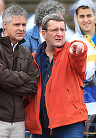 Quebec city mayor Regis Labeaume points something out to Quebc city 400th anniversary comity president Daniel Gelinas before a Rouge et Or football game against the Carabins de l'Universite de Montreal at the Universite Laval stadium in Quebec City, September 7, 2008. Laval won 17-6 before a crowd of 15,275.<br /> <br /> PHOTO :  Francis Vachon - Agence Quebec Presse