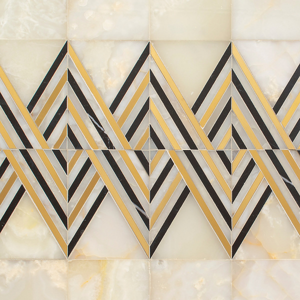 Tennant, a hand-cut stone mosaic, shown in polished White Onyx, Nero Marquina, and brushed Brass, is part of the Bright Young Things™ collection by New Ravenna.