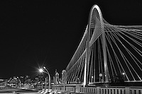 We captured this BW photo of the Margaret Hunt Hill Bridge over the Trinity River in Dallas last weekend. We decided to include the pedestrian bridge as it added to the look that we wanted.  This bridge enhanced the Dallas skyline because it is a unique piece of architecture design that is now part of the dallas skyline. You can see the Reunion Tower and the Bank of America Plaza along with the many high rise hotel in the city.  This bridge is 400 ft high cable-stayed bridge which is a very impressive sight and can be seen from many locations in Dallas. There are future plans to build two more of these bridges over the Trinity river but the date for this is unknown.