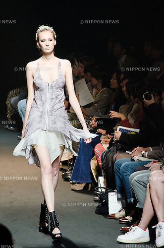 October 19, 2011: Tokyo, Japan - A model walks down the catwalk wearing SHIROMA during Mercedes-Benz Fashion Week Tokyo 2012 Spring/Summer. The Mercedes-Benz Fashion Week Tokyo runs from October 16-22. (Photo by Yumeto Yamazaki/AFLO)