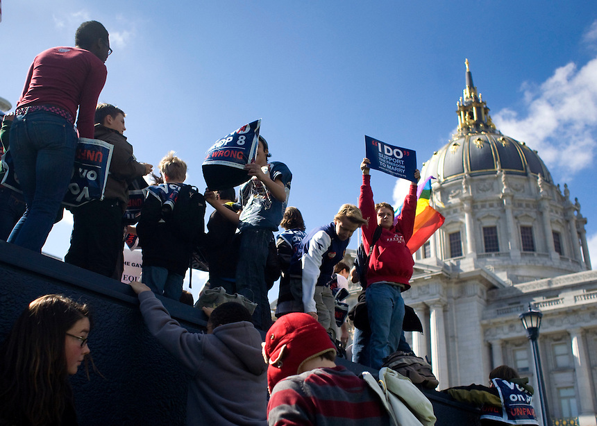 Protesters gather in San Francisco, Calif. on March 5, 2009 during an ongoing battle of marriage equality for gay and lesbian people throughout the state of California. On February 7, 2012, a U.S. Appeals court ruled that Proposition 8, banning gay marriage, was unconstitutional.