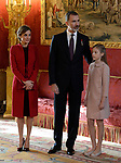 Queen Letizia of Spain, King Felipe VI of Spain, Princess Sofia of Spain attend the Order of Golden Fleece (Toison de Oro), ceremony at the Royal Palace. January 30,2018. (ALTERPHOTOS/Pool)