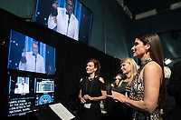 Sandra Bullock watches Jordan Peele accept the Oscar&reg; for original screenplay for work on &ldquo;Get Out&rdquo; during the live ABC Telecast of The 90th Oscars&reg; at the Dolby&reg; Theatre in Hollywood, CA on Sunday, March 4, 2018.<br /> *Editorial Use Only*<br /> CAP/PLF/AMPAS<br /> Supplied by Capital Pictures
