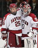 Luke Greiner (Harvard - 26), Raphael Girard (Harvard - 30) - The Harvard University Crimson and Quinnipiac University Bobcats played to a 2-2 tie on Saturday, November 5, 2011, at Bright Hockey Center in Cambridge, Massachusetts.