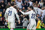 Isco Alarcon of Real Madrid celebrates after scoring a goal during the match of Spanish La Liga between Real Madrid and UD Las Palmas at  Santiago Bernabeu Stadium in Madrid, Spain. March 01, 2017. (ALTERPHOTOS / Rodrigo Jimenez)