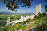 Pissignano, Umbria, Italy, June 2006. Pissignano, the walled village perched high on a hill above the beautiful surrounding countryside with its medieval walled villages and cities, olive groves and vineyards. Photo By Frits Meyst/Adventure4ever.com
