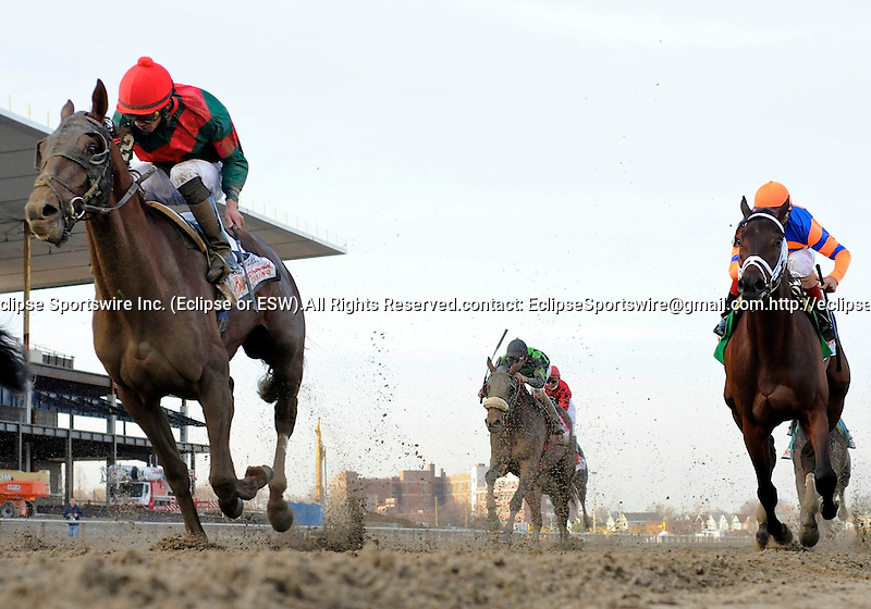 Toby's Corner (no. 2), ridden by Eddie Castro and trained by H. Graham Motion, wins the  87th running of the grade 1 Wood Memorial Stakes for three year olds on April 9, 2011 at Aqueduct Race Track in Ozone Park, New York.  (Bob Mayberger/Eclipse Sportswire)