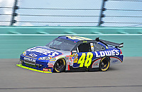 Nov. 20, 2009; Homestead, FL, USA; NASCAR Sprint Cup Series driver Jimmie Johnson during practice for the Ford 400 at Homestead Miami Speedway. Mandatory Credit: Mark J. Rebilas-