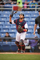 Binghamton Rumble Ponies catcher Colton Plaia (26) during a game against the Akron RubberDucks on May 12, 2017 at NYSEG Stadium in Binghamton, New York.  Akron defeated Binghamton 5-1.  (Mike Janes/Four Seam Images)