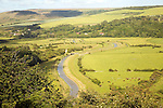 River Cuckmere meanders and flood plain from Frog Firle at High and Over, near Alfriston, East Sussex, England