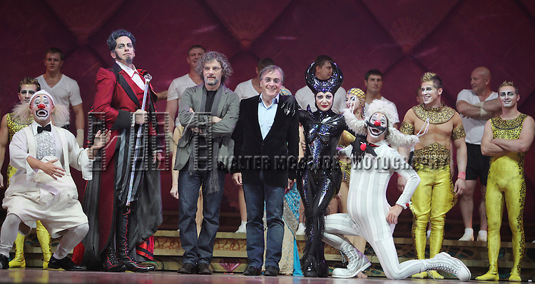 Writer and Director Francois Girard & Cirque du Soleil president and CEO Daniel Lamarre with Cast Members.during the Cirque Du Soleil 'Zarkana' Rehearsal at Radio City in New York City.