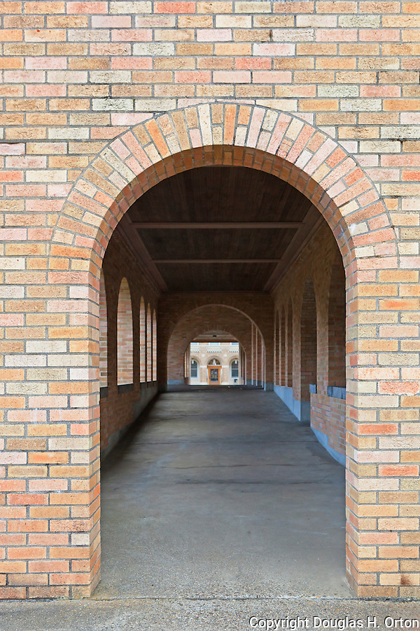 Brick, outdoor, covered hallway of Mount Angel Abbey, St. Benedict, Oregon