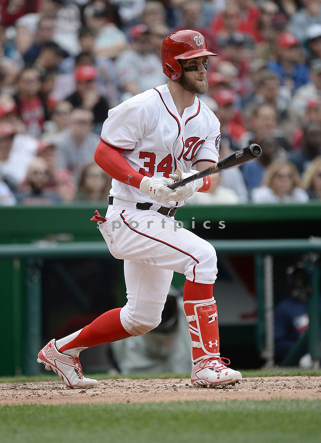 Washington Nationals Bryce Harper (34) during a game against the Minnesota Twins on April 23, 2016 at Nationals Park in Washington DC. The Nationals beat the Twins 2-0.