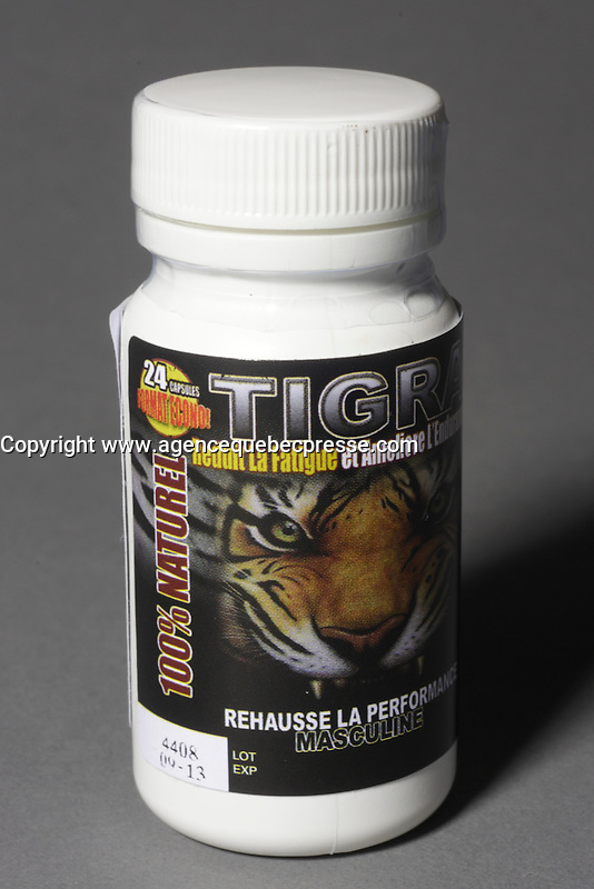 Montreal (Qc) CANADA - June 2 2012 -  TIGRA  : 100 % natural, 100 % made in quebec  male enhancement potency pill - 24 pieces bottle - French label