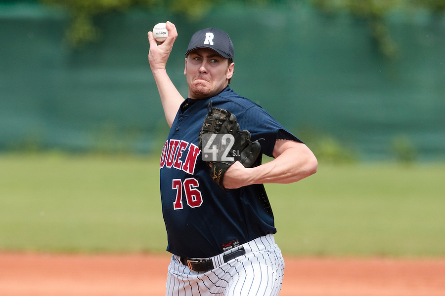 04 June 2010: Starting pitcher Justin Staatz of Rouen pitches against the Konica Minolta Pioniers during the 2010 Baseball European Cup match won 19-9 by Konica Minolta Pioniers over the Rouen Huskies, at the Kravi Hora ballpark, in Brno, Czech Republic.