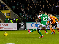 28th January 2020; Easter Road, Edinburgh, Scotland; Scottish Cup replay, Football, Hibernian versus Dundee United; Scott Allan of Hibernian scores the equaliser from the penalty spot to make it 1-1 in the 40th minute