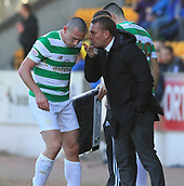 4th November 2017, McDiarmid Park, Perth, Scotland; Scottish Premiership football, St Johnstone versus Celtic; Captain Scott Brown is given instructions by Brendan Rodgers