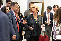 United States Senator Debbie Stabenow, Democrat of Michigan, talks to reporters in the Senate Subway during a Senate vote on Capitol Hill in Washington, DC on July 7, 2018. <br /> CAP/MPI/RS<br /> &copy;RS/MPI/Capital Pictures