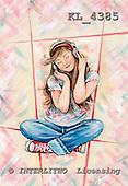 Interlitho, Theresa, TEENAGERS, paintings, girl, hearing music, KL4385,#j# Jugendliche, jóvenes, illustrations, pinturas ,everyday