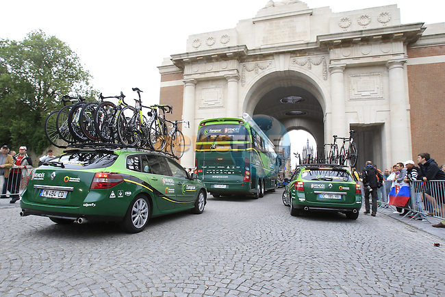 Team Europcar arrive in Ypres through the Menin Gate for the start of the cobbled stage Stage 5 of the 2014 Tour de France running 155.5km from Ypres to Arenberg. 9th July 2014.<br /> Picture: Eoin Clarke www.newsfile.ie