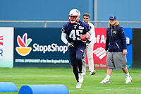 June 7, 2017: New England Patriots defensive back Damarius Travis (45) runs a drill at the New England Patriots mini camp held on the practice field at Gillette Stadium, in Foxborough, Massachusetts. Eric Canha/CSM
