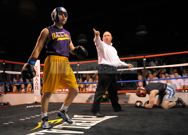 Brian Wagers (left) of Delta Tau Delta fights Mike Hughes (right) of Triangle fraternity at the Sigma Chi Fraternity & Alpha Delta Pi Sorority sponsored The Main Event 2011 in Lexington, Ky. Brian Wagers won the fight in the first round by knockout. Photo by Mike Weaver |
