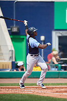 Trenton Thunder designated hitter Jhalan Jackson (32) follows through on a swing during a game against the Hartford Yard Goats on August 26, 2018 at Dunkin' Donuts Park in Hartford, Connecticut.  Trenton defeated Hartford 8-3.  (Mike Janes/Four Seam Images)