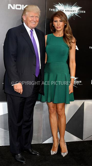 WWW.ACEPIXS.COM . . . . .  ....July 16 2012, New York City....Melania Trump and Donald Trump at 'The Dark Knight Rises' premiere at AMC Lincoln Square Theater on July 16, 2012 in New York City.....Please byline: NANCY RIVERA- ACEPIXS.COM.... *** ***..Ace Pictures, Inc:  ..Tel: 646 769 0430..e-mail: info@acepixs.com..web: http://www.acepixs.com
